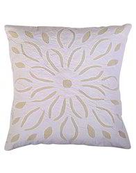 White Cotton Floral Applique Cushion Cover