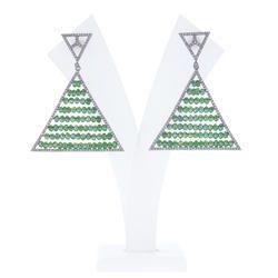 Green Colour Bead Dangle Earrings