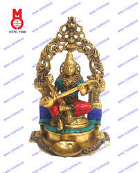 Goddess Saraswati Sitting W/Yelli Ring & Deeva Statues