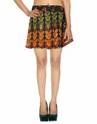 Ethnic Screen Printed Mini Damask Wrap Around Short Skirts