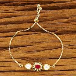 Gold Plated Kundan Adjustable Bracelet - 40490