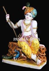 Marble Krishna Sitting Statue
