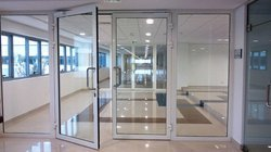 Glazed Metal Fire Rated Door with Fixed Partition