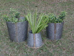 Set Of 3 Indoor-Outdoor Planters With Brass Welding