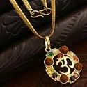 Designer Synthetic Navratan/Navgrah Brass Om Round Shape Locket/Pendant