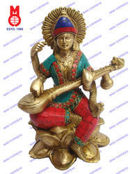 Saraswati Sitting On Lotus Base W/Stone Statue
