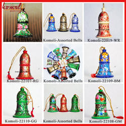 Christmas Ornament Decoration Bells Tree Wooden Hand Painted