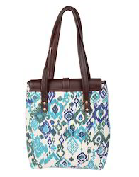 Hand Printed Ikat Leather And Cotton Fashion Shoulder Women Bag