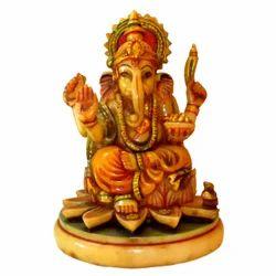 Resin Culture Marble Kamal Ganesha Statue