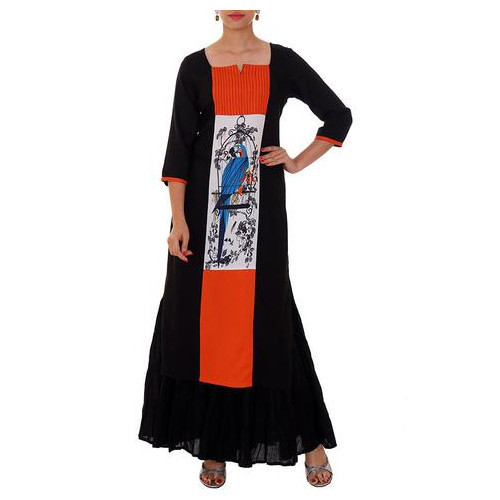 Black and Orange Cotton Rayon Kurti