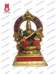 Saraswati Sitting Yelli Ring W/Stone Statues