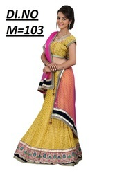 Yellow Brocade Embroidered Lehenga Choli