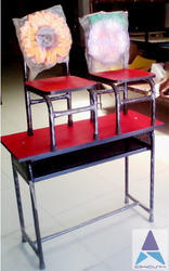 Kids Desk Bench with Cutout Chair