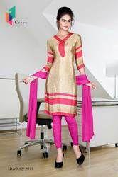 Beige and Pink Italian Crepe Uniform Salwar Kameez