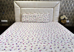 Always Plus White Multi Color Floral Double Bedsheet