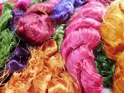 Sari Silk Thrums In Assorted Multi Colors For Spinners