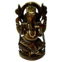 Wooden Black Finishing Ganesha Statue'