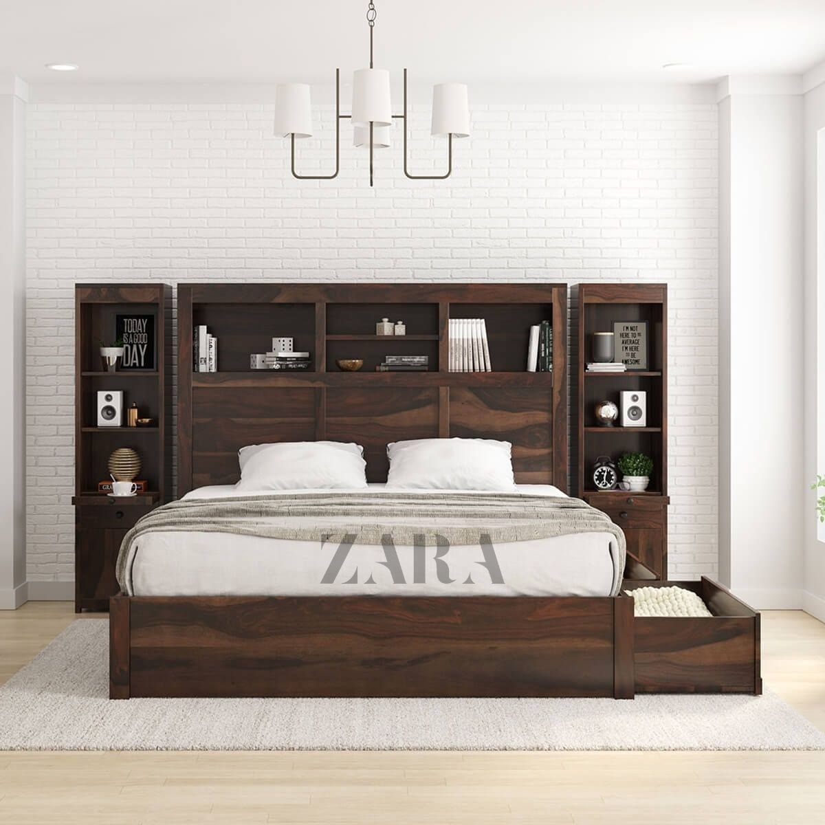 Brown Zara Solid Wood Storage Platform Bed With Bookcase Headboard For Everywhere Size King Queen Rs 74999 Piece Id 22404089955