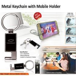 Metal Keychain With Mobile Stand