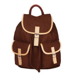 Monochrome Brown Canvas Backpack