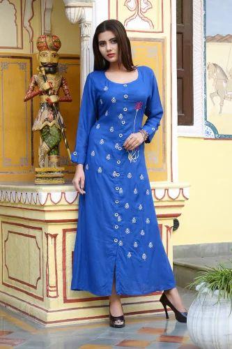 Ladies Rayon Kurti - Vedika Overseas Cotton Printed Long Kurti ... 16ef7656b