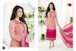 Pink Crepe Silky Salwar Suit Fabric