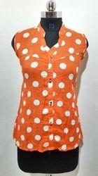 Orange Cotton Western Top