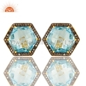 925 Silver Pave Diamond and Topaz Birthstone Stud Earrings