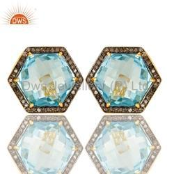 925 Silver Pave Diamond and Topaz Birthstone Stud Earrings