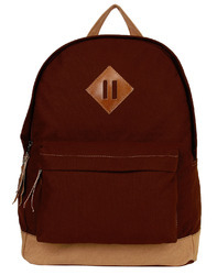 Basic Brown Canvas Backpack With Leather Trims