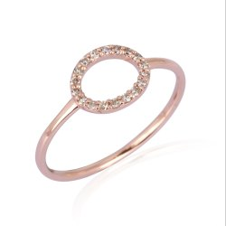 Pave Diamond Gold Round Band Ring