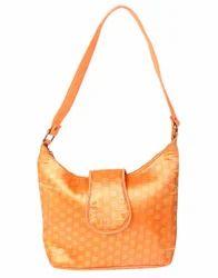 Self Weaved Orange Cotton Jacquard Floral Hand Bag