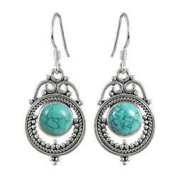 Quality Work Turquoise Gemstone Silver Earrings