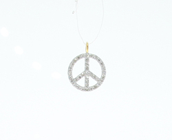 Diamond Gold Peace Charm Pendant