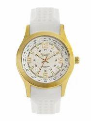 OMAX Men White Silicon Analog White Dial Gold Tone Watch