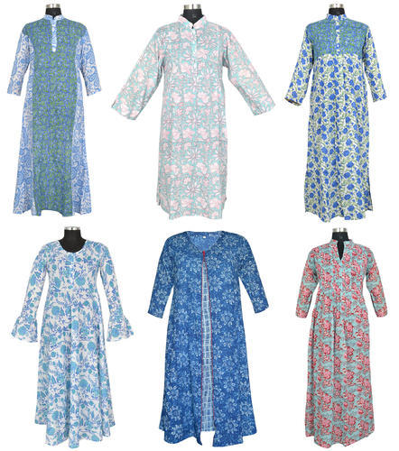 Cotton Hand Block Print Long Dresses
