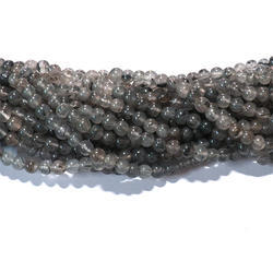 Black Rutilated Quartz Smooth Gemstone Beads