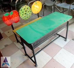 2 Seater Desk Bench with Cutout Back