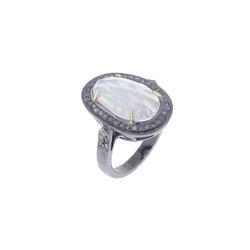 Opal Gemstone Diamond Silver Ring