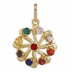 Synthetic Navratan or Navgrah Rhodium Gold Plated pendant