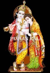 Colorful Radha Krishna Statue