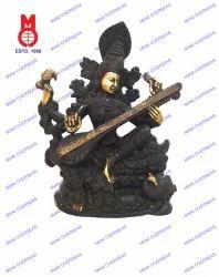 Saraswati Sitting Richly Carved Statue