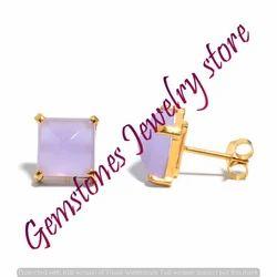 Lavender Chalcedony Gemstone Ear Stud