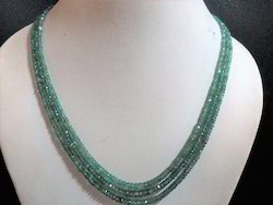 Zambian Emerald Natural Gemstone Faceted Rondelle Necklace