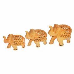 Wooden Undercut Elephant Set