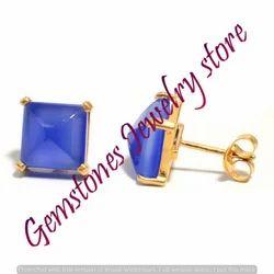 Blue Chalcedony Gemstone Ear Stud