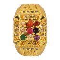 Chauki Navratan Ad Om Ring Golden Polished With Hand Setting Stones