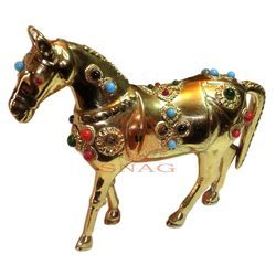 Brass Stone Work Horse Sculpture