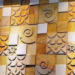 Teakwood Sandstone Wall Mosaic Cladding Tiles