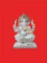 Stting Ganpati On Lotus Marble Statue